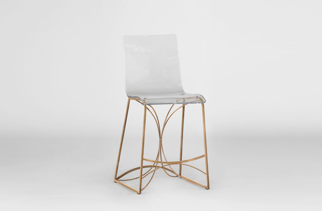Clear Acrylic Lucite Gold Bar Counter Stool Angela