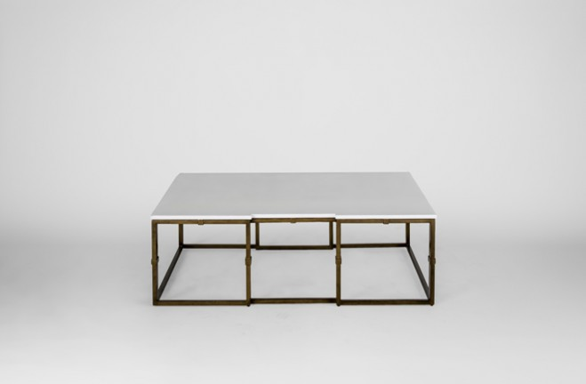 Large Gold And White Coffee Table Stevens By Gabby