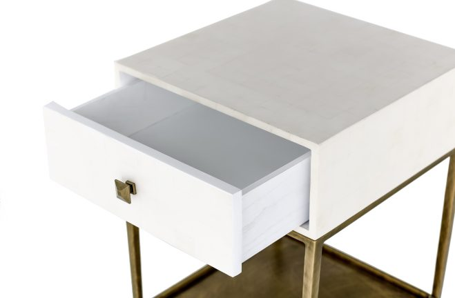 Gold And White Nightstand May By Gabby