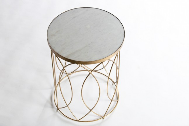 White Marble Top Side Table | Nicole Table   Gabby