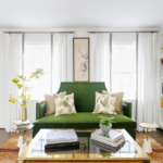 Brass accents and go-anywhere neutral tables like the Lucinda Bunching Tables (hyperlink) soften bolder choices like a grass-green settee and antelope rug.