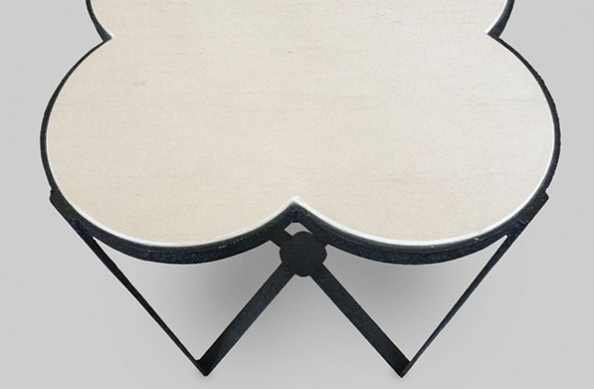 ... Side Table Top Detail Iron And Stone Quatrefoil Accent Table